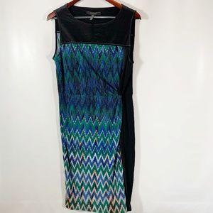 BCBGMAXAZRIA L Dress Elektra Maxi Shift Geometric